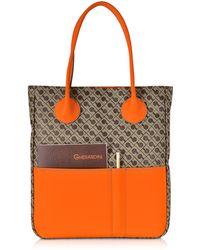 Gherardini - Julieta Millerighe Fabric And Mandarin Eco Leather Top Zip Tote Bag - Lyst
