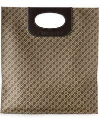 Gherardini - Fernanda Coffee Brown Fabric And Leather Flat Tote Bag - Lyst