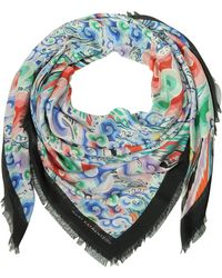 Mary Katrantzou - Rainbow Cloud Print Modal & Cashmere Wrap W/fringes - Lyst