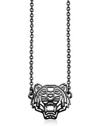 KENZO - Ruthenium Plated Sterling Silver Cut Out Tiger Necklace W/crystal - Lyst
