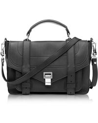 Proenza Schouler - Ps1+ Medium Black Leather Flap Handbag - Lyst