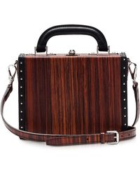 Bertoni - Black Wood Effect Leather Mini Squared Bertoncina Bag - Lyst
