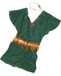 Hafize Ozbudak - Jade Green Silk Tunic With Feather Belt - Lyst