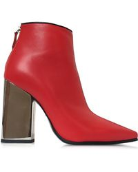 Emilio Pucci   Cherry Red Leather Ankle Boot   Lyst