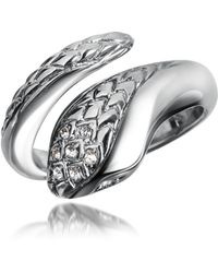 Just Cavalli | Secret - Crystal Diamondback Snake Ring | Lyst