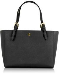 Tory Burch - York Black Saffiano Leather Small Top-zip Buckle Tote - Lyst