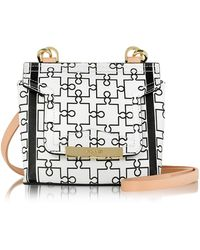 Vionnet - Mosaic 15 Orchid White & Black Puzzle Print Leather Micro Crossbody Bag - Lyst