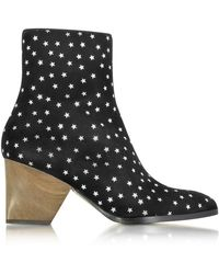 Zoe Lee - Addis Black And Silver Star Printed Suede Boot - Lyst