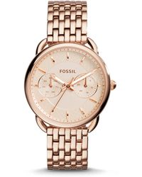 Fossil - Women's Tailor Rose Gold-tone Stainless Steel Bracelet Watch 35mm Es3713 - Lyst