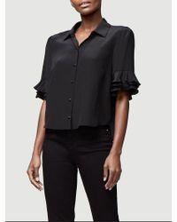 b4eecffbcdf FRAME Notch Collar Silk Blouse in Black - Lyst