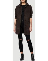 FRAME - Suede Overcoat - Lyst