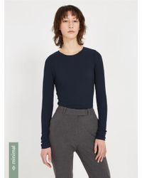 Frank And Oak - Ribbed Long Sleeved Crewneck - Dark Blue - Lyst