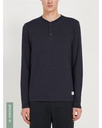 Frank And Oak - Striped Jacquard Henley Tee - Navy With Yellow Retro Ski Stripes - Lyst