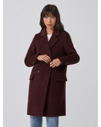 Frank And Oak - Double-breasted Cocoon Coat In Deep Plum - Lyst