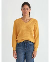 Frank And Oak - Off-shoulder Cotton V-neck Sweater In Mustard - Lyst