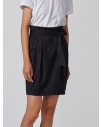 Frank And Oak   Chalkstriped Stretch-wool Paper-bag Skirt In Navy   Lyst