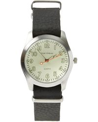 Frank And Oak - Tokyobay Basic Leather Watch In Black/beige - Lyst