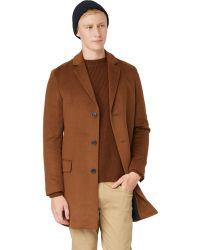 Frank And Oak - Melton Wool Topcoat In Dark Camel - Lyst