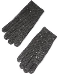 Frank + Oak - Donegal Tweed Knit Gloves In Black - Lyst