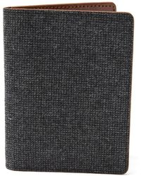 Frank And Oak - Wool Tweed & Leather Passport Sleeve In Charcoal - Lyst