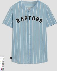Frank And Oak - Toronto Raptors Summer-denim Short-sleeve Shirt In Striped Indigo - Lyst