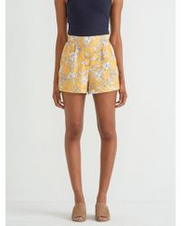 Frank And Oak - Floral Printed Pull On Short In Yellow - Lyst