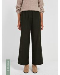 Frank And Oak - Recycled Wool Wide Leg Pant - Dark Green - Lyst
