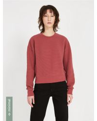 Frank And Oak - Textured Organic-cotton-blend Sweatshirt - Roan Rouge - Lyst