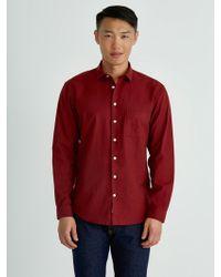 Frank And Oak - Windowpane Poplin-twill Shirt In Red - Lyst