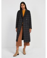 Frank And Oak - Plaid Double-breasted Coat - Grey - Lyst