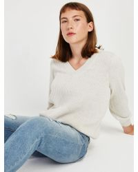Frank And Oak - Off-shoulder Cotton V-neck Sweater In Stone Heather - Lyst