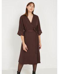 Frank And Oak - Kimono Midi Wrap Dress - Dark Purple - Lyst