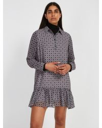 Frank And Oak - Printed Polo Chiffon Dress - Raindrop - Lyst