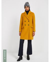 Frank And Oak - Double-breasted Cocoon Coat With Recycled Wool - Dusty Mustard - Lyst