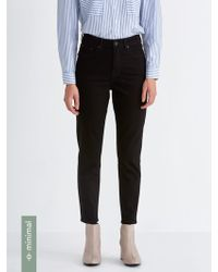 Frank And Oak - The Stevie High-waisted Tapered Jean In Rinsed Black - Lyst