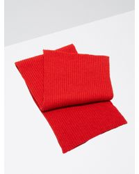 Frank And Oak - Cotton-bouclé Knitted Scarf In Rooster Red - Lyst