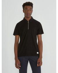 Frank And Oak - Beach Zip Polo In True Black - Lyst