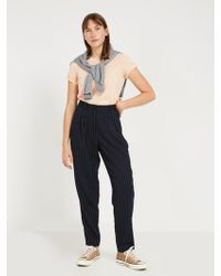 Frank And Oak - Striped Flannel Trousers - Navy - Lyst