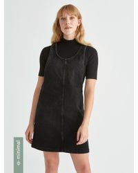 Frank And Oak - Denim Pinafore Dress In Washed Black - Lyst