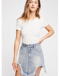 Free People - Minkpink Rip Tide Denim Mini Skirt - Lyst