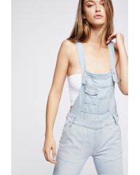 Free People - Washed Denim Overall - Lyst