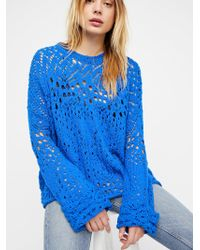 Free People - Traveling Lace Sweater - Lyst