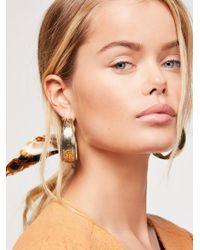 Free People - Floral Engraved Hoop Earrings - Lyst