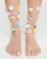 Free People - Floral Tulle Anklet - Lyst