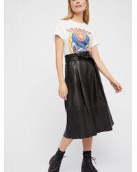Free People - Leather Midi Skirt - Lyst