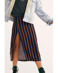 Free People - Sydney Printed Slit Midi Skirt - Lyst