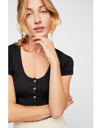 Free People - Seamless Button Up Crop By Intimately - Lyst