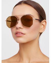 Free People - Right Angle Aviator Sunglasses - Lyst