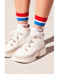 Free People - Strut Striped Sheer Sock By Peach Socks - Lyst