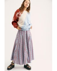 dea2157fd9 Free People - Lily Linen Jacquard Maxi Skirt - Lyst